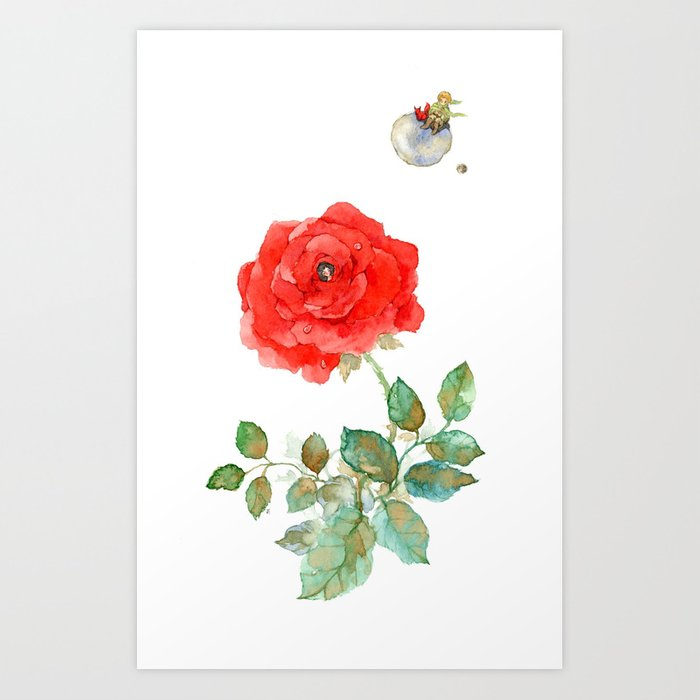 Le Petit Prince Little Prince With Fox Amp Rose Vertical Art