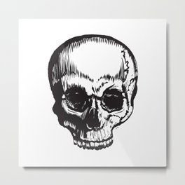 Pen Stroke Skull Metal Print
