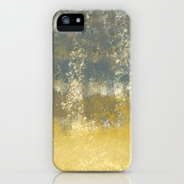 Blue and Gold Textures Abstract iPhone Case