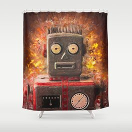 Robot on fire by Brian Vegas Shower Curtain