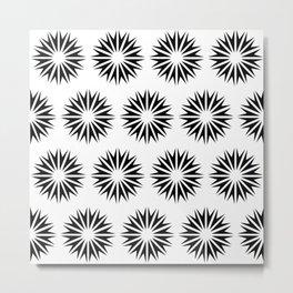 Black Modern Sunbursts Metal Print