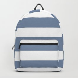 Shadow blue - solid color - white stripes pattern Backpack