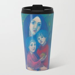 Bedtime fairytale, pastel painting, mother and children, fine art, fantasy, blue, green, pink colors Travel Mug