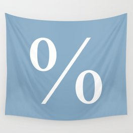 percent sign on placid blue color background Wall Tapestry