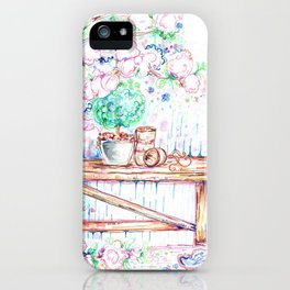 Flowers and bench iPhone Case