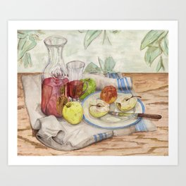 Still life of fruit and wine - Painting Art Print