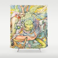 insect Shower Curtains featuring Compositions insect by Maethawee Chiraphong