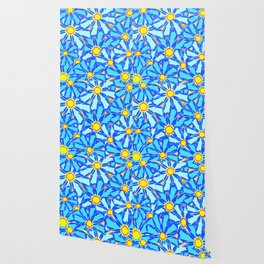 Abstract daisies. Background of blue and white flowers. Wallpaper