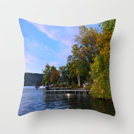 Autumn Arrives at the Lake Throw Pillow