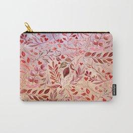 Elegant Poppy Red Flourish in Sunset Orange Carry-All Pouch