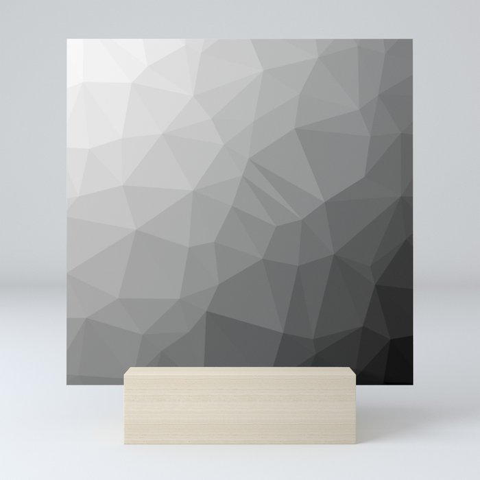 LOWPOLY BLACK AND WHITE Mini Art Print