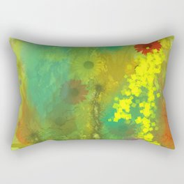 Flowers on Yellow Rectangular Pillow