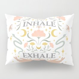 Breathe, inhale exhale yogi zen master poster white Pillow Sham