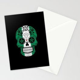 Sugar Skull with Roses and Flag of Nigeria Stationery Cards