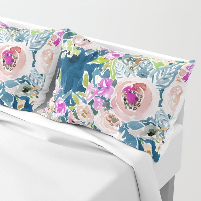 NAVY SO LUSCIOUS Colorful Watercolor Floral Kissenbezug