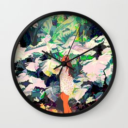 Live Quietly In a Corner Of Nature, Modern Bohemian Woman Jungle Forest Eclectic Painting Wall Clock
