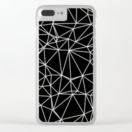 Random delaunay triangulation - black Clear iPhone Case