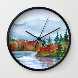 Mirror Lake in Autumn Wall Clock