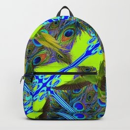 ART NOUVEAU FLYING GREEN PARROTPEACOCK FEATHER CHARTREUSE ART Backpack