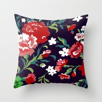 vampire weekend Throw Pillows featuring VAMPIRE WEEKEND FLORAL VECTOR by Danielle Ebro