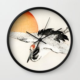 Crane Flying In Sunset - Vintage Japanese Illustration Wall Clock