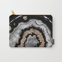 Gray Black White Agate with Gold Glitter on Black #1 #gem #decor #art #society6 Carry-All Pouch