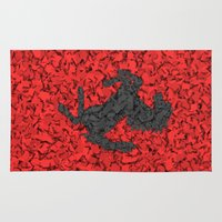 f1 Area & Throw Rugs featuring Red Homage to Ferrari by Giovanni Fontana