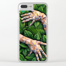 Hands Through Leaves - Brandie Lee - Geometric Shapes - Digital Garden of Eden Clear iPhone Case