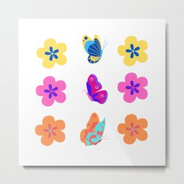 Animal Bib Flower Pack colorful Metal Print
