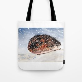 Hedgehog Facing Blizzard Tote Bag