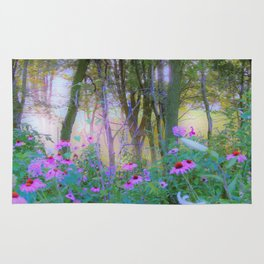 Bright Sunrise with Pink Coneflowers in My Rubio Garden Rug