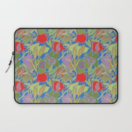 Seven Species Botanical Fruit and Grain with Blue Background Laptop Sleeve
