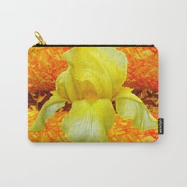 YELLOW GERMAN BEARDED IRIS FLOWER ON GOLD ART Carry-All Pouch