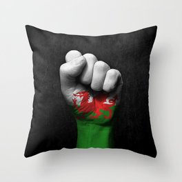 Welsh Flag on a Raised Clenched Fist Throw Pillow