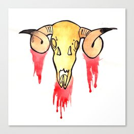 Skull and Blood Canvas Print
