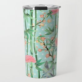 Bamboo, Birds and Blossom - soft blue green Travel Mug