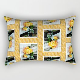 Good as Gold Roses in a vase with a patterned border Rectangular Pillow