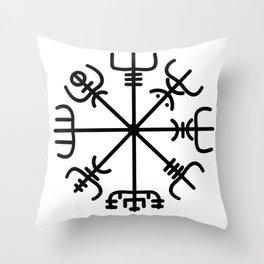 VEGVISIR Nordic Viking sign post compass wayfinder Throw Pillow