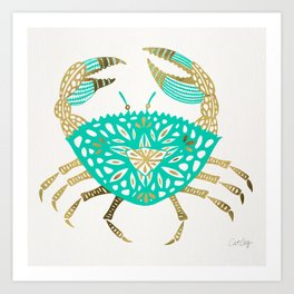 Crab – Turquoise & Gold Art Print