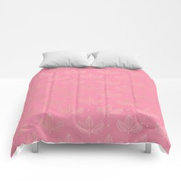 Girly pink faux gold elegant triangles leaves pattern Comforters