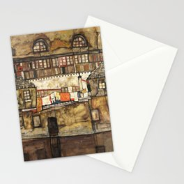 Egon Schiele - House Wall on the River, 1915 Stationery Cards