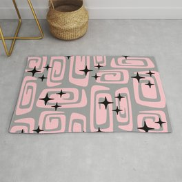 Mid Century Modern Cosmic Galaxies 438 Pink and Gray Rug