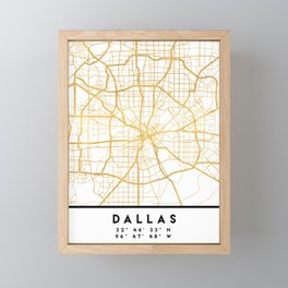 DALLAS TEXAS CITY STREET MAP ART Framed Mini Art Print