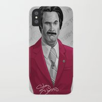 burgundy iPhone & iPod Cases featuring Ron Burgundy by Dave Collinson