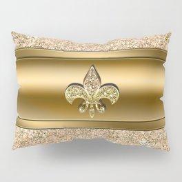 Pink & Gold Glitter Fleur De Lis Pillow Sham