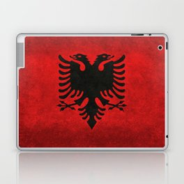 Albanian Flag in Vintage Retro Style Laptop & iPad Skin