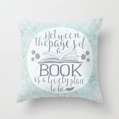 Between the Pages of a Book - Vintage Blue Throw Pillow