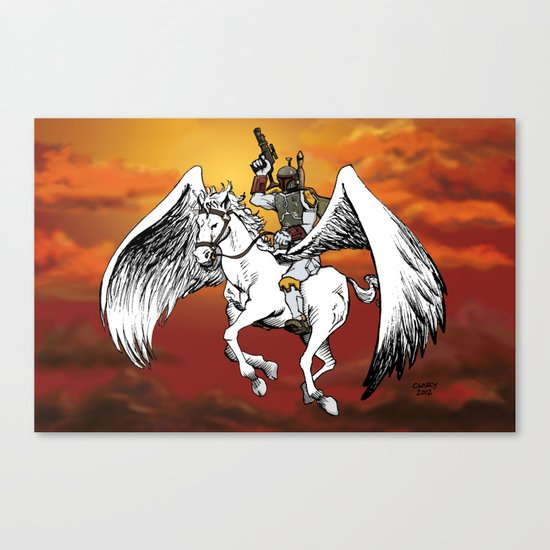 Boba Fett riding Pegasus Canvas Print