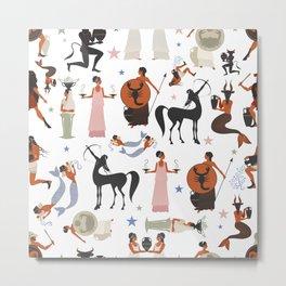 Greek Zodiac White Larger Pattern Metal Print