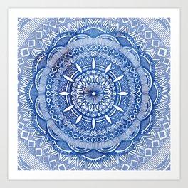 Calming Blue Mandala Art Print